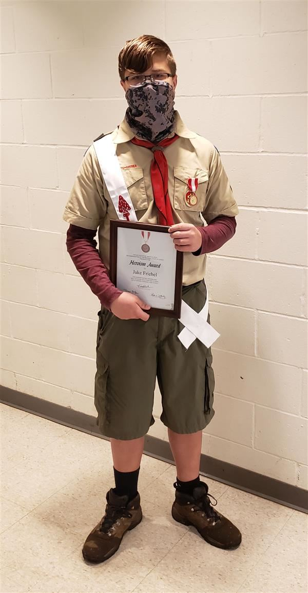 Jake Friebel was presented with the Boy Scouts of America Heroism Award